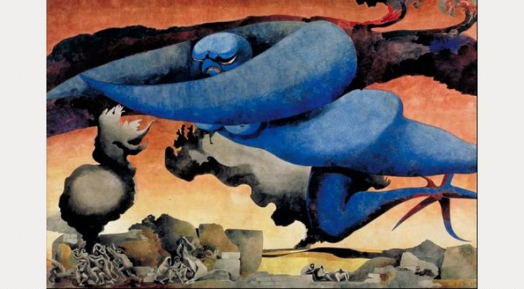 Edward Burra. 'Blue Baby: Blitz Over Britain'. Watercolour and pencil on paper. 1941.