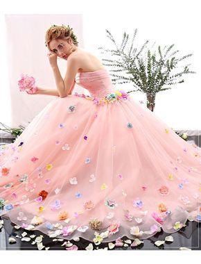 Romantic Strapless Floral Retro Prom Dress