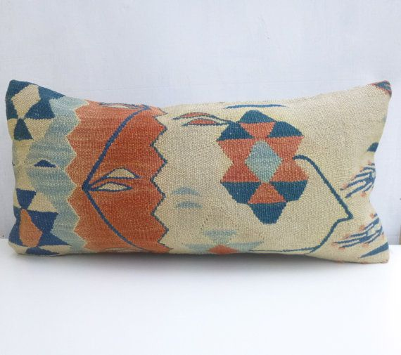 60x30cm Cream Blue And Salmon Kilim Lumbar Pillow Floral