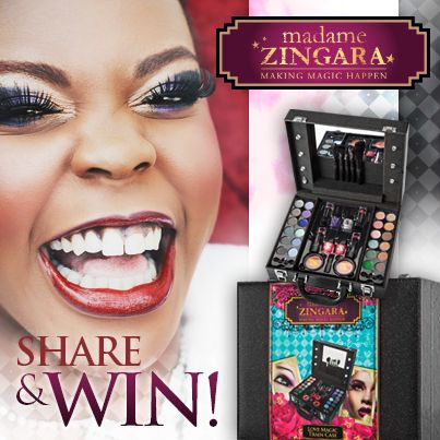 Get your glam on!!! Share this post and stand a chance of winning one of Madame Zingara's ultimate party accessories. The Enchanted Train case holds everything you'll need to look fabulous this festive season.  Starting on the 04th November 2013- We'll be giving away 10 Train cases's this week, winners will be announced at noon on Friday 8th November.