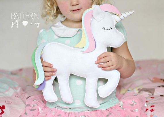 PDF Unicorn Pattern Felt Toy Unicorn Unicorn Pillow Unicorn