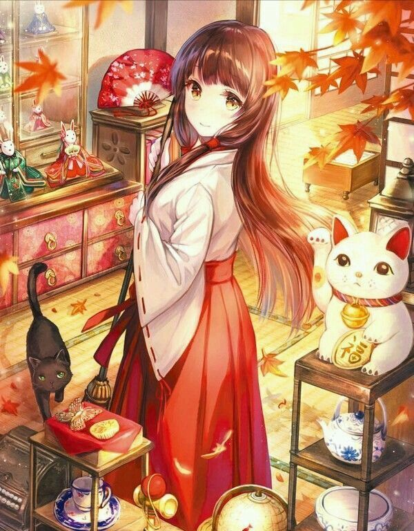 Anime girl with long, brown hair walks in a shop among Japanese trinkets with her cat. Anime girl in a kimono with cats; anime art.