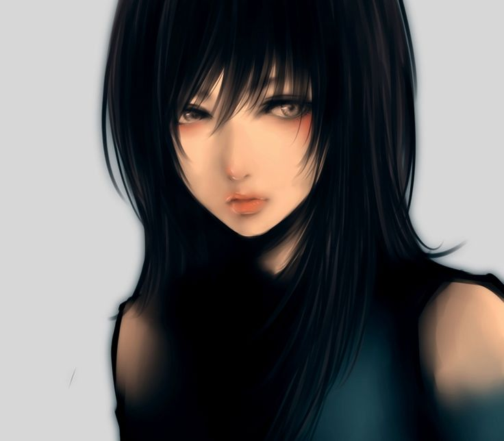 anime girl | Lady of the Death, anime, black hair, close, girl, original, realistic ...