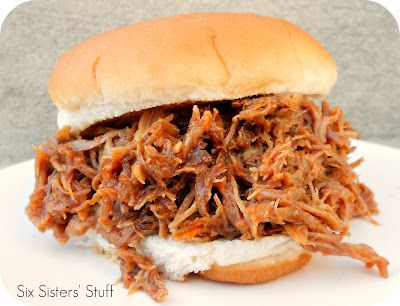 Slow Cooker Smoky BBQ Pulled Pork Sandwiches   Six Sisters' Stuff