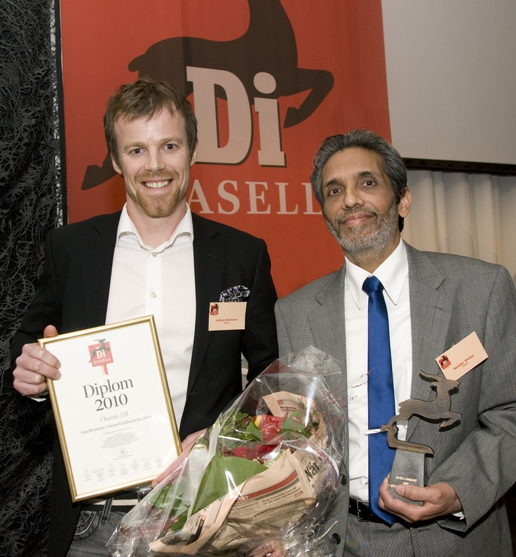 "Andreas Martsman and Dr. Nandan Khokar receives the ""Gasell"" award for West Sweden at the ""Gasell"" gala in Gothenburg.    Oxeon was later acknowledged as the fastest growing company in Sweden 2010 and received the  Gazelle price ""Supergasell"" by Swedish financial newspaper ""Dagens Industri"". The ""Supergasell"" is an annual award that recognizes the company that has shown the most exceptional growth and created new employment opportunities."
