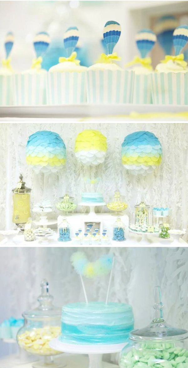 Up Up & Away Hot Air Balloon Baby Shower with so many CUTE ideas!! Via Karas Party Ideas KarasPartyIdeas.com #up #away #baby #shower #idea #hot #air #balloon