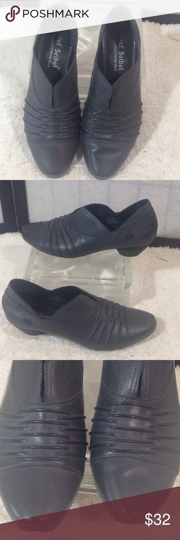 """Josef Seibel gray leather slip one Soft smooth gray leather; raised design in front; 1.5"""" heel; leather inside and out; nicely padded inside; good. Condition; (t-34) Josef Seibel Shoes"""