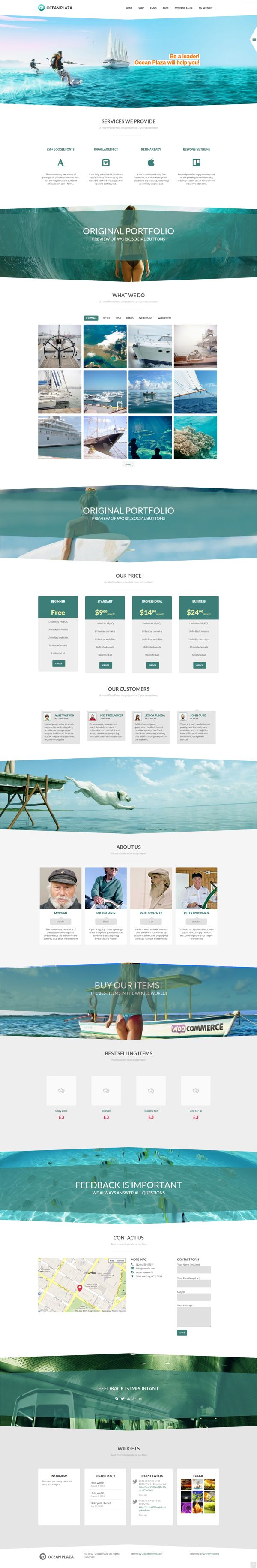 OceanPlaza WordPress Parallax Theme by Zizaza - design ocean , via Behance