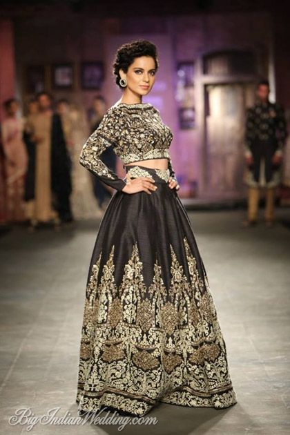 Kangana Ranaut as showstopper for Anju Modi at ICW 2014 #lehenga #choli #indian #hp #shaadi #bridal #fashion #style #desi #designer #blouse #wedding #gorgeous #beautiful