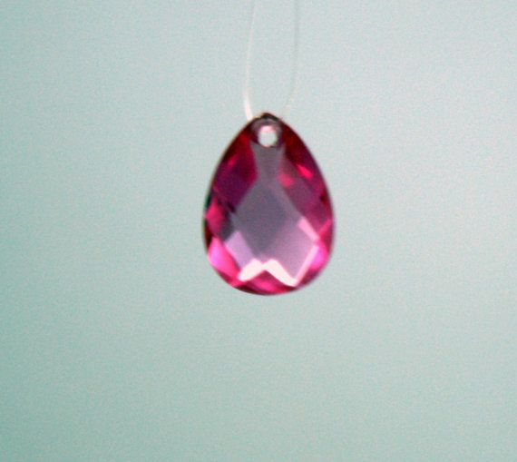 1 Cubic Zirconia Pear Shaped Pendant  Rose Pink by ThisPurplePoppy, $2.75