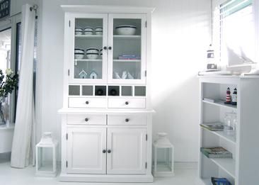 £1500 New England Small White Dresser with Glass Doors