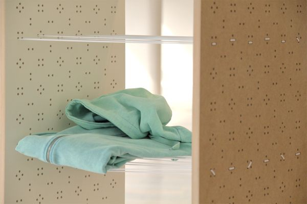 Flex is a no-shelf closet, a kind of utopia for untidy and free-spirited people. Designed by Yonder Magnetik