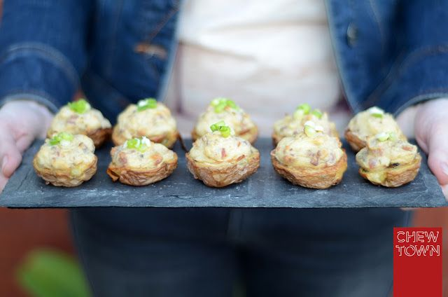Stuffed Baby Potato Skins Recipe | Chew Town Food Blog
