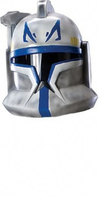 Clone Trooper Star Wars Helmet - This Captain Rex Clone Commander helmet is 2 pieces and made from a sturdy but thin plastic. It attaches with pieces of Velcro on both sides . Vision is good, but still limited. One size fits most. Perfect for Halloween, Star Wars theme parties, or as a collector's item. This is an officially licensed product. Please note: Helmet looks more worn in the picture than actual product looks. #starwars #yyc #costume #helmet