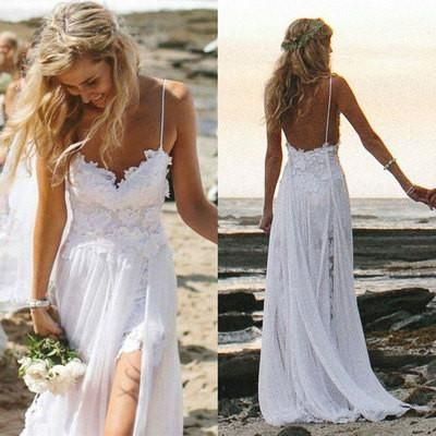 New Arrival A-line Spaghetti Strap White Lace and Chiffon Beach Wedding Dress with Slip