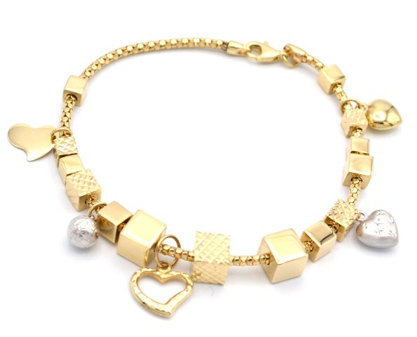 e9706e7d3 Zlatý dámský náramek, typ Pandora s přívěsky. Levné nové zlato! Elegantní  náramek.