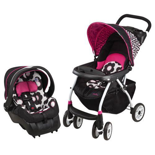 Evenflo Journey 300 Full Size Stroller with Embrace 35 LX Infant Car Seat - Pink/Black