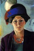 Portrait of the Artist's wife Elisabeth with a Hat (Frau des...  by August Macke
