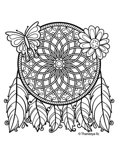 detailed dream catcher coloring pages - photo#22