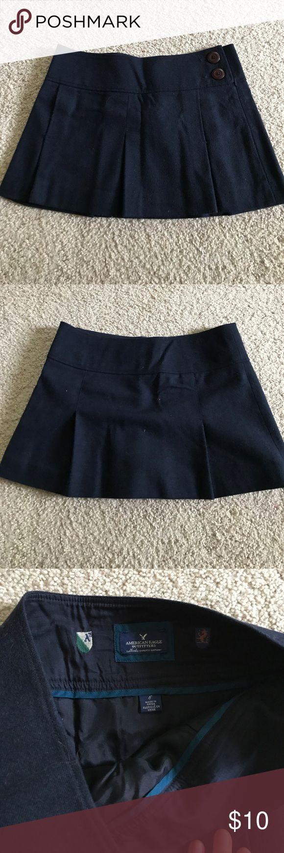Navy American Eagle Wool Schoolgirl Skirt Navy wool skirt. Never worn! Super mini and cute. Has pockets! American Eagle Outfitters Skirts Mini
