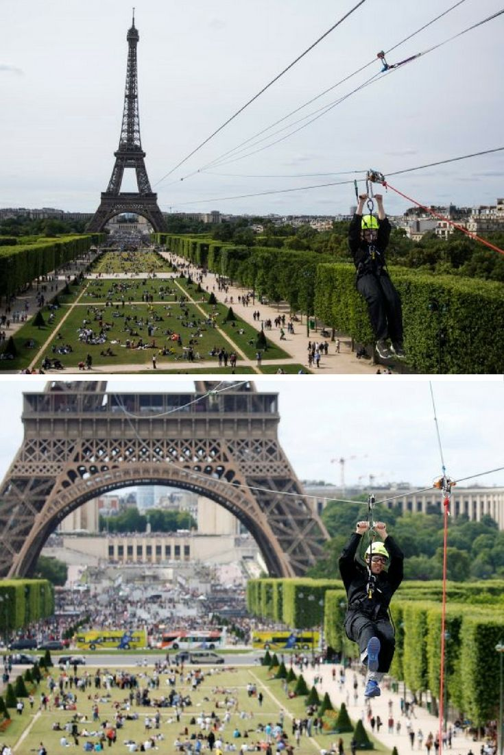 You can now zip line off the Eiffel Tower in Paris. Yup. Zip line. Like a spy escaping the bad guys or a fancy circus performer.