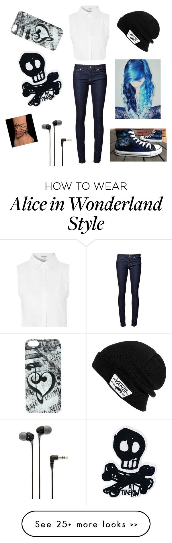 """Outfit 39"" by alphaalex on Polyvore featuring Naked & Famous, Vans, Glamorous, Converse and Sony"