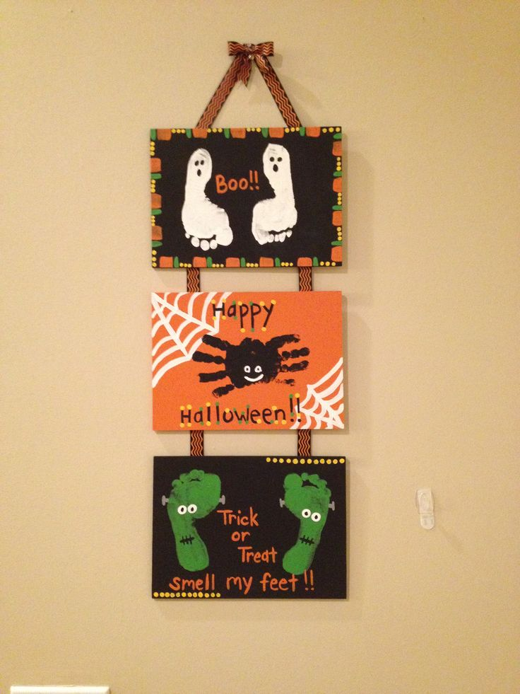 Kids Halloween Craft- cute and preserves the memory of how stinkin' small and cute those hands and feet were!