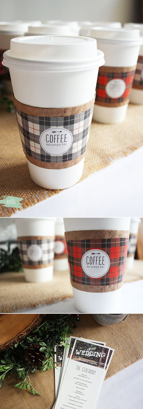 Free printable coffee and sleeves for a cozy winter wedding or get together