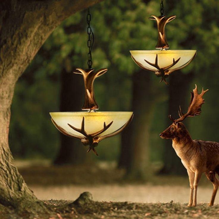 142.00$  Buy now - http://ali1er.worldwells.pw/go.php?t=32787138441 - Antler Crystal Chandelier For Europe Country Retro Resin Deer Horn Lamp lustre Living Room lampadari For Home Decoration Light 142.00$