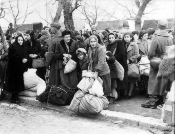 Greek Jewish women and children are rounded up for deportation in Ioannina by German troops. Prior to the war, approximately 1,950 Jews lived in Ionnina. Of these, 1,870 were deported by the Germans to concentration camps on 25 March 1944, during the...