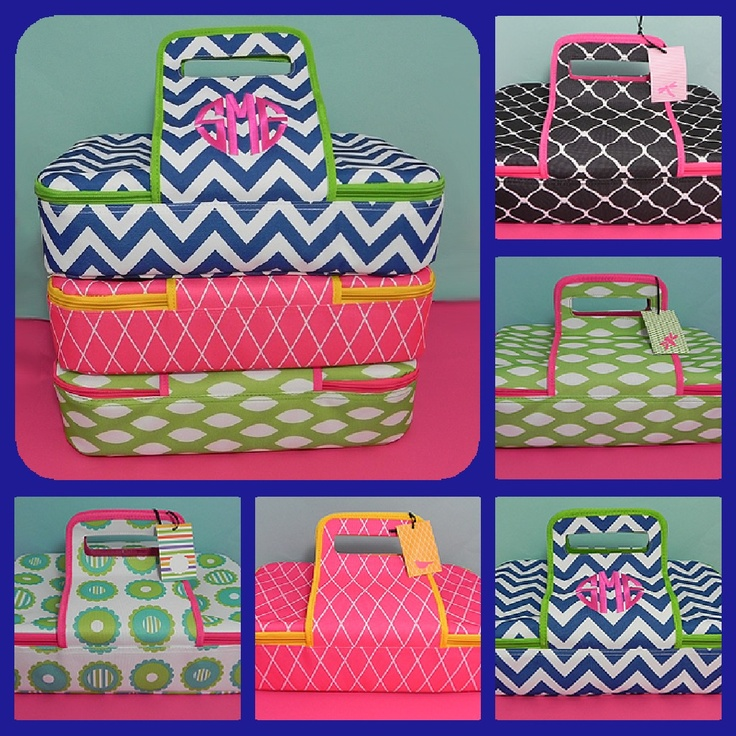 """Be the Belle of the Potluck with these insulated casserole carriers, measuring approximately: 15.75"""" x 11.25"""" x 3"""", and are made with a canvas exterior and polyester lining for easy cleaning. Available in five trendy designs, these are perfect for friends, relatives and coworkers. These carriers are $35 each and include a monogram or single name embroidered at no additional charge. To order, please visit our Facebook Shop at www.facebook.com/FeatheredNestBoutique"""