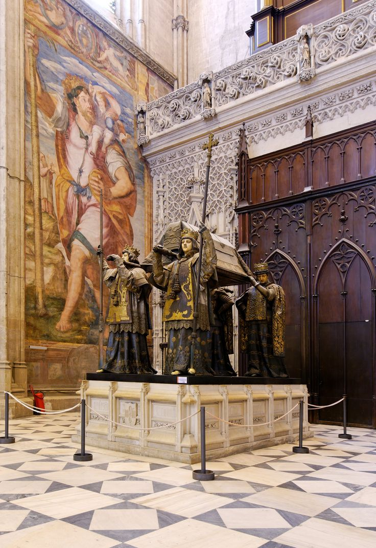 Christopher Columbus' Tomb    The Cathedral of Seville Andalusia, Spain a World Heritage Site by UNESCO, also the third largest cathedral in the world. the tomb of Christopher Columbus, has  The four pallbearer, the four Spanish kingdoms of Castile, Leon, Aragon and Navarre.