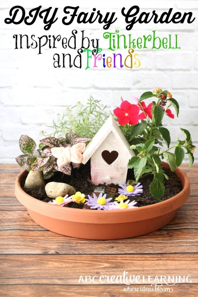 DIY Fairy Garden Inspired by TinkerBell and Friends! My girls being huge fairy fans wanted to create these fun Fairy Gardens for our back year! - abccreativelearning.com