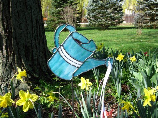 Custom Made Teal Stained Glass Watering Can Garden Stake