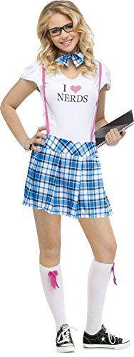 fun world costumes womens i love nerds teen costume - Fun Teenage Halloween Costumes