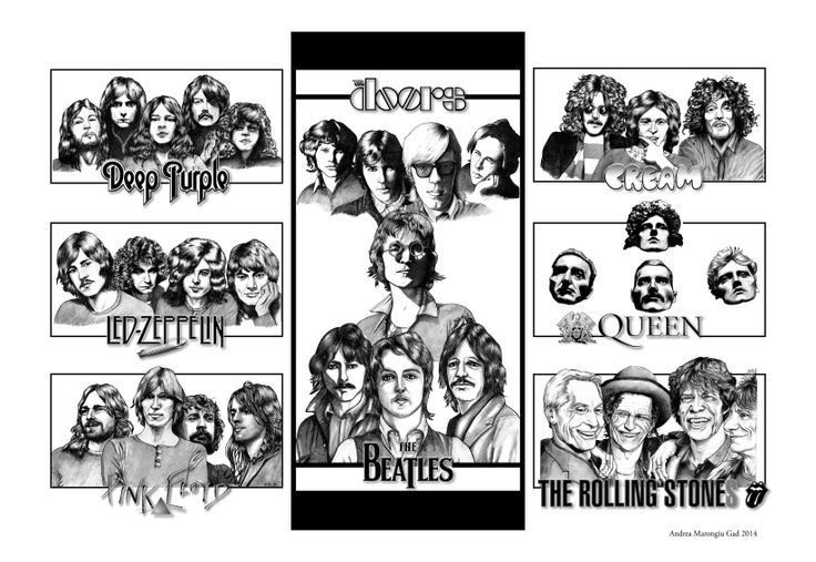 #Rock #bands, #illustration created by #AndreaMarongiu, #pencils on paper and #digital post-production  Subject: The #Beatles, The #RollingStones, #PinkFloyd, #LedZeppelin, #DeepPurple, #Queen, the #Doors, #Cream; #FreddieMercury, #BrianMay, #PaulMcCartney, #JohnLennon, #RingoStarr, #GeorgeHarrison, #MickJagger, #KeithRichards, #RogerWaters, #DavidGilmour, #EricClapton, #JimMorrison, #JimmyPage, RobertPlant, #music #musician #drawing #illustration #poster #design #portrait