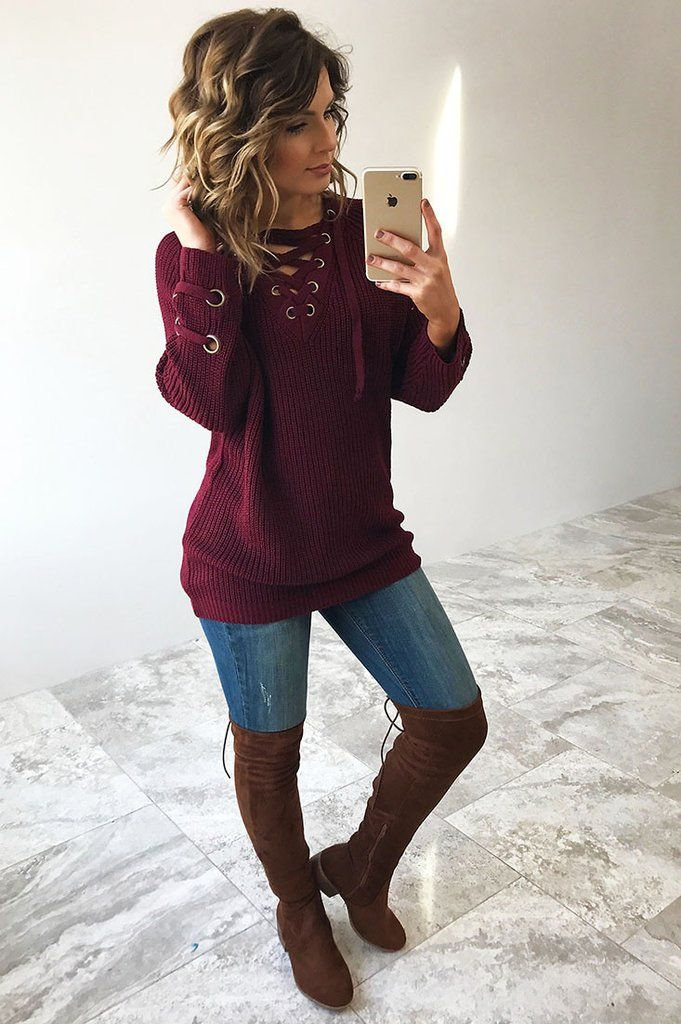 Restock: The Perfect Lace Up Sweater: Wine