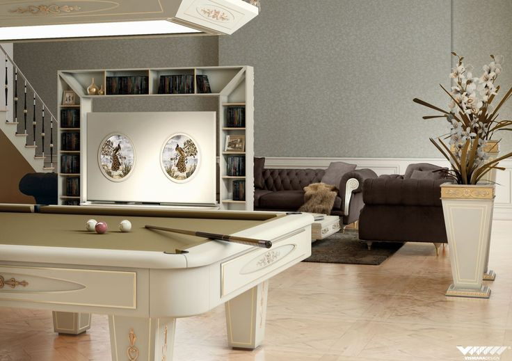 #vismaradesign presents a luxury livingroom with pool table, revolving tv stand, vases and coffee table. that's  what we call perfection! #madeinitaly #handmade #luxury