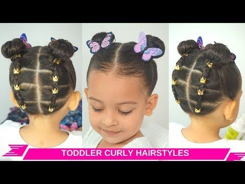 toddler girl easy curly/wavy hairstyles  rubberband updo