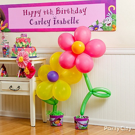 Dora Party Ideas - love balloon flowers!