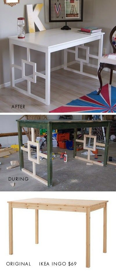 DIY~ Update an old table (pictured- Ikea Table Becomes Desk.)