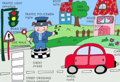 Dizionario illustrato di inglese per bambini: La strada