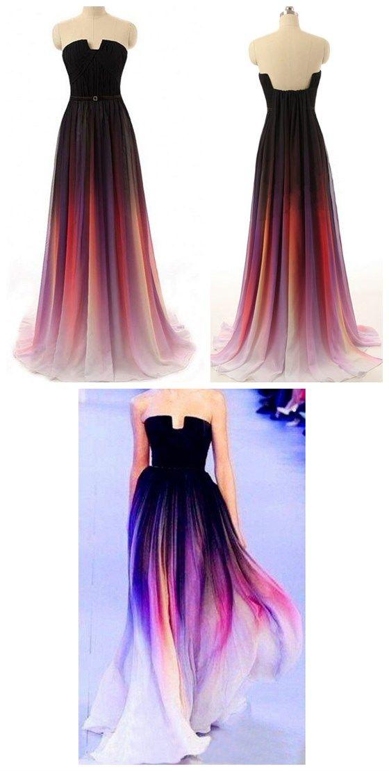 Long Prom Dress, Gradient Prom Dres