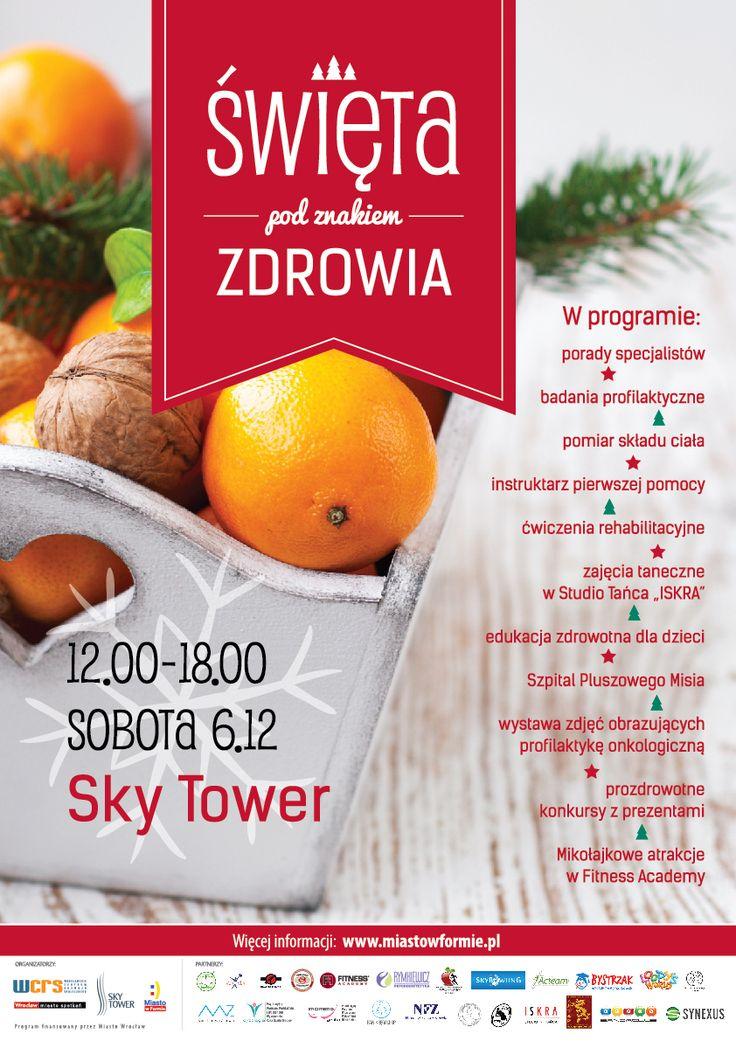 W sobotę 6 grudnia odbędzie się niezwykłe wydarzenie, czyli Święta pod znakiem Zdrowia! Pierwsze piętro Galerii Handlowej Sky Tower od godziny 12 do 18 zamieni się w centrum zdrowia i zdrowego stylu życia.  https://www.facebook.com/events/304311836437081/?ref=22
