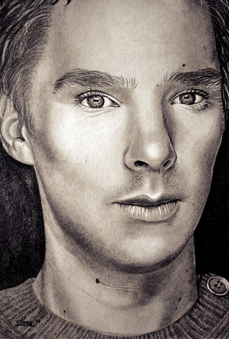 Benedict Cumberbatch, Staedlter Graphite Pencils and White Conté Pastel on Strathmore Toned Grey Paper, (9X12)