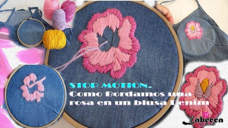 STOP MOTION | Como Bordamos una Rosa en Blusa Denim, Animación by Labecc...
