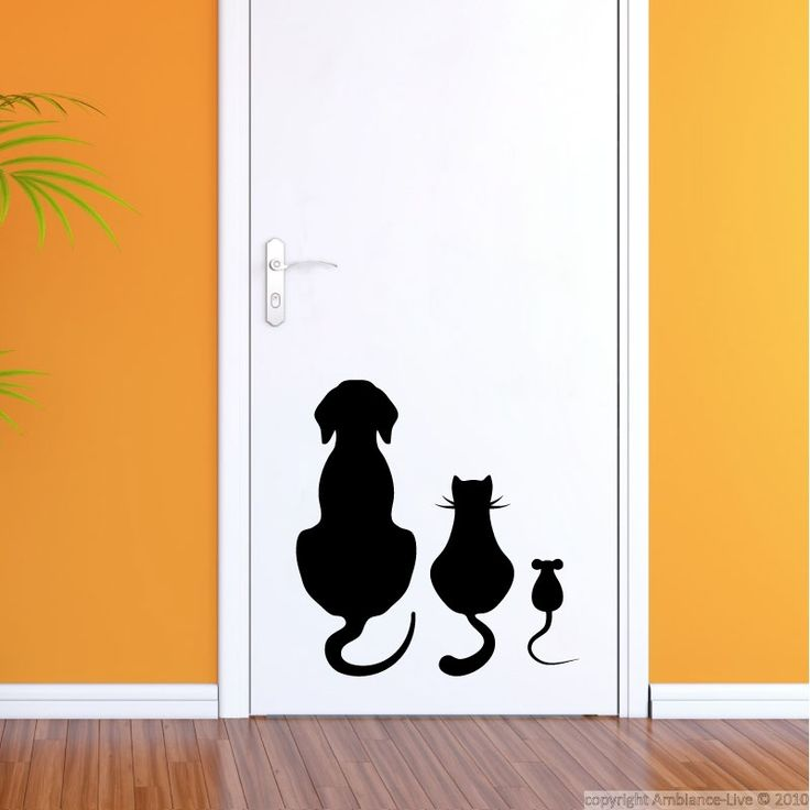 Dog, cat, mouse sitting wall sticker. | wall sticker ...