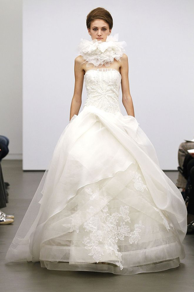 Trending Lace overlay bodice with Vera us signature layered skirt Vera Wang Fall wedding gown