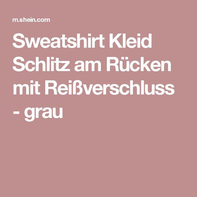 Sweatshirt Kleid Schlitz am Rücken mit Reißverschluss - grau