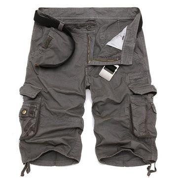 Summer Mens Cotton Cargo Shorts Casual Multi Pocket